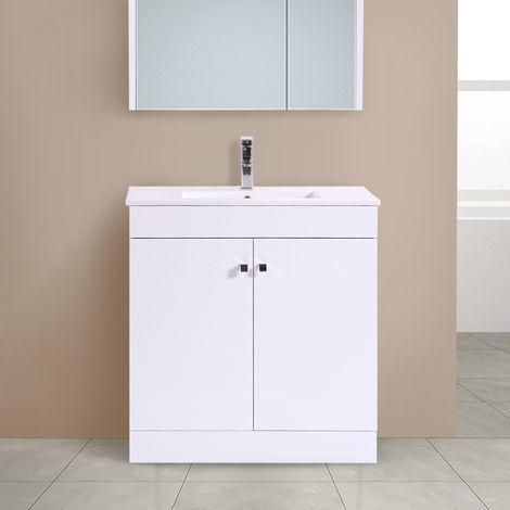 800mm 2 Door Gloss White Wash Basin Cabinet Vanity Sink Unit Bathroom Furniture