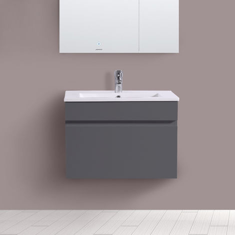600mm Grey Vanity Unit Ceramic Sink Basin Bathroom Drawer Storage Furniture