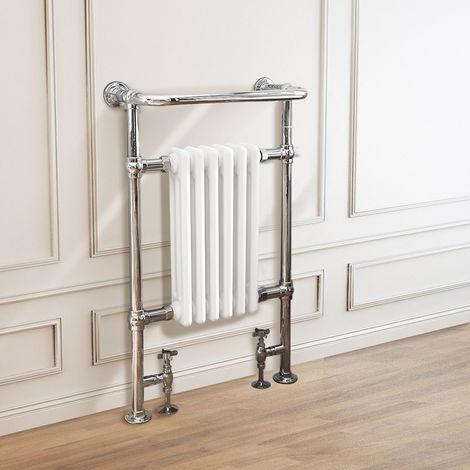 Traditional Victorian 952 x 568mm Chrome & White Towel Rail Radiator