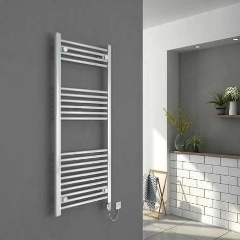 Bergen 1200 x 500mm Straight White Electric Heated Thermostatic Towel Rail - please select - please select