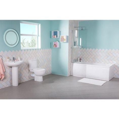 Lima Bathroom Suite with Left Hand P Shape Shower Bath