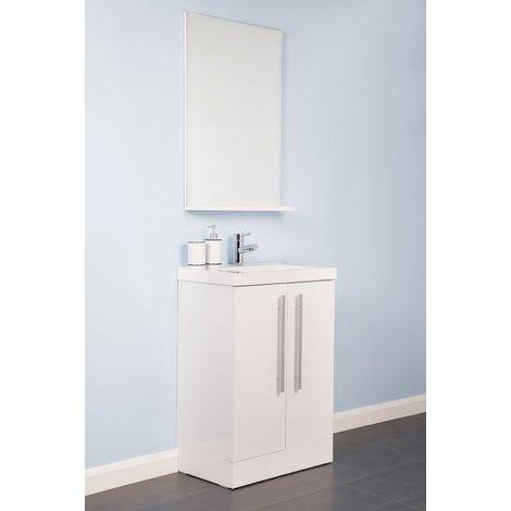 Vitalise White 600mm Vanity Unit & Basin with FREE Mirror