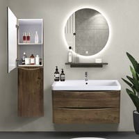 1400mm Left Hand Grey Oak Effect Tall Cupboard Storage Cabinet Bathroom Furniture
