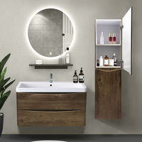 1400mm Right Hand Grey Oak Effect Tall Cupboard Storage Cabinet Bathroom Furniture
