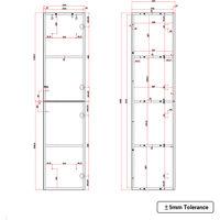 Gloss White 1400mm Tall Cupboard Wall Hung Cabinet Bathroom Furniture 2 Door