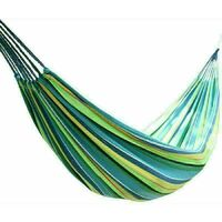 Canvas Hammock Portable Single Outdoor Garden Swing Camping Bed - Multi-Blue