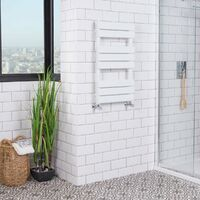 Juva 800 x 450mm White Flat Panel Heated Towel Rail -