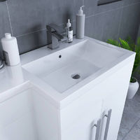 Calm White Right Hand Combination Vanity Unit Set with Boston Toilet