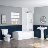 Abbey Traditional Bathroom Suite with Right Hand P Shape Shower Bath