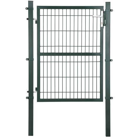 Puerta de Malla de jardín Puerta de verja Acero galvanizado Sólido y Estable Cerradura y Llaves Puerta de jardín de 106 x 175cm Malla de 50 x 200mm Verde GGD175L - Verde