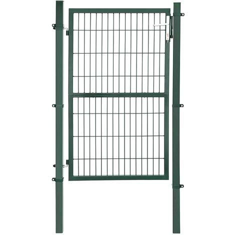 Puerta de Malla de jardín Puerta de verja Acero galvanizado Sólido y Estable Cerradura y Llaves Puerta de jardín de 106 x 200cm Malla de 50 x 200mm Verde GGD200L - Verde