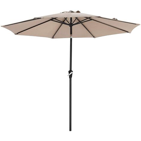 Sombrilla de 3m, Parasol Octogonal de Poliéster, con Mecanismo de Inclinación y Manivela, para Jardines Exteriores, Balcón y Patio, Taupe GPU30BRV1 (Base No Incluida) - Taupe