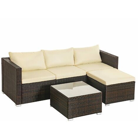Conjunto de 5 muebles de jardín, Mueble de exterior de ratán tejido a mano, Sofá de exterior, Mesa de centro con tablero de cristal, con cojines, Marrón y Beige GGF005K01 - Marrón y Beige