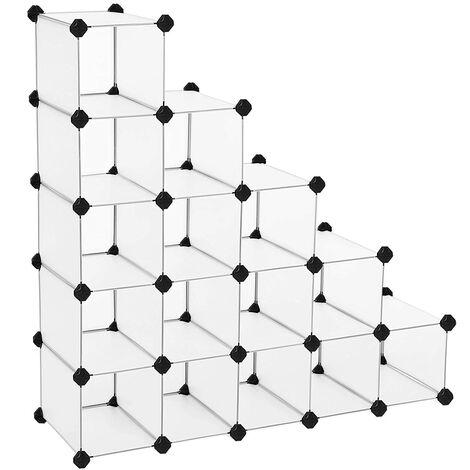Estantería Modular de plástico PP Zapatero Organizador 16 Cubos Blanco semitraslúcido 113 x 36 x 113 cm LPC44S - White semitransparent