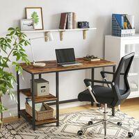 VASAGLE Mesa de Escritorio y Ordenador con diseño Industrial, con 2 estantes en el Lado Derecho o Izquierdo, Mesa de Trabajo para Oficina o salón, fácil de Montar, Estilo Vintage por SONGMICS LWD47X - Estilo Vintage