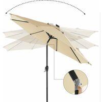 Parasol de jardín con luces solares LED, Sombrilla Ø 2,7 m, Protección UPF50+, Inclinable, Manivela para abrir/cerrar, Base no incluida, Beige GPU040M01 - Beige