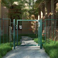 Puerta de malla de jardín Puerta de verja Acero galvanizado Sólido y estable Cerradura y llaves Puerta de jardín de 106 x 100cm Malla de 50 x 200mm Verde GGD250L - Verde