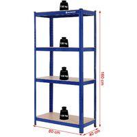 Estantería metálica para almacenar de pie 4 Estantes 520kg, 160 x 80 x 40cm, GLR44Q - Azul