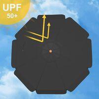 Ombrellone da Giardino, Ø 300 cm, Parasole Ottagonale con Protezione UPF50+, Palo e Stecche in Legno, Inclinabile, Base Non Inclusa, per Terrazzo Balcone Esterno, Grigio GPU32GY - Grigio