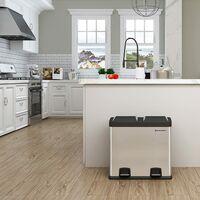 48 Litri Pattumiera per Raccolta Differenziata da cucina con Pedale in Acciaio Inossidabile 2 Contenitori di 24 Litri LTB48L - Argento
