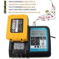 Chargeur Makita de batterie de remplacement pour Makita DC18RC 14.4V 18V 3A avec écran HobbyTech