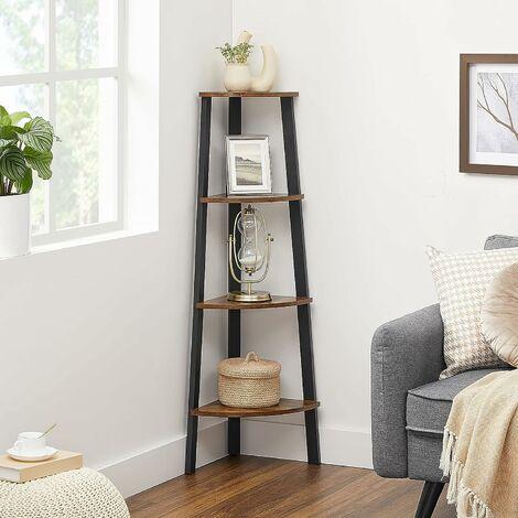 Vasagle Corner Shelf Rack 4 Tier Office Organiser Unit Ladder Shaped Bookcase For Home Living Room