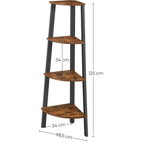 Vasagle Corner Shelf Rack 4 Tier Office Organiser Unit Ladder Shaped Bookcase For Home Living Room Bedroom Balcony Vintage Black By Songmics Lls34x Vintage Black