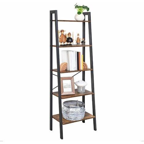 VASAGLE Vintage Ladder Shelf, 5-Tier Bookcase, Storage Unit, with Metal Frame, for Living Room, Kitchen, Vintage, Black, by SONGMICS, LLS45X - Rustic Dark Brown