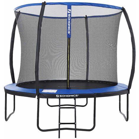 Garden Trampoline 10ft (Ø305cm) Round Trampoline Padded Arch Poles STR10BK - Blue
