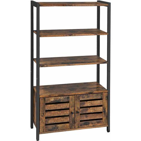 VASAGLE Floor Standing Cabinet, Bookshelf, Industrial Storage Cabinet with 3 Shelves and 2 Shutter Doors, Bookcase in Living Room, Study, Office, Bedroom, 70 x 30 x 121.5 cm, Rustic Brown,by SONGMICS,LSC75BX - Rustic Brown