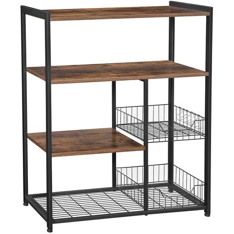 VASAGLE Baker's Rack, Kitchen Island with 2 Metal Mesh Baskets, Shelves and Hooks, 80 x 35 x 95 cm, Industrial Style, Rustic Brown by SONGMICS KKS96X - Rustic Brown