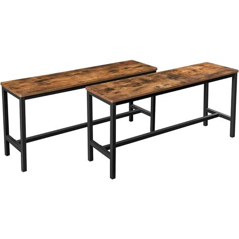 VASAGLE Table Benches, Set of 2, Industrial Style Indoor Benches, 108 x 32.5 x 50 cm, Durable Metal Frame, for Kitchen, Dining Room, Living Room, Rustic Brown by SONGMICS KTB33X - Rustic Brown