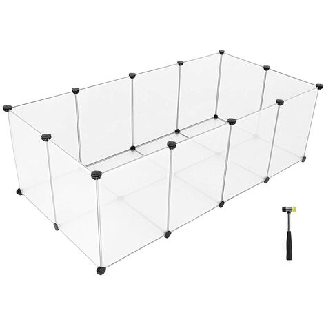 Pet Exercise Play Pen with Bottom, 20 Panels, DIY Enclosure Fence Cage for Small Animals, Guinea Pigs, Hamsters, Bunnies, Pet Run and Crate, Free Adjustable, White LPC02W - Transparent