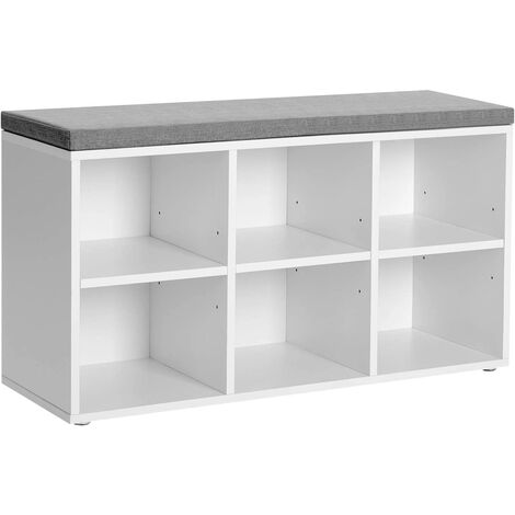 VASAGLE Shoe Bench, Shoe Cabinet Storage with 6 Compartments and 3 Adjustable Shelves, Easy to Assemble, Space-Saving, for Entryway, Bedroom, White  by SONGMICS LHS23WT - White