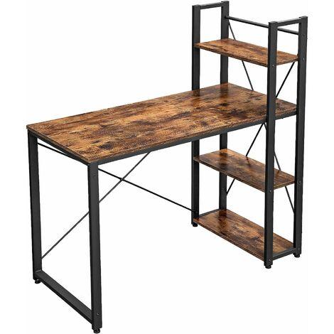 Vasagle Computer Desk 120 Cm Writing, Black Desk With Shelves
