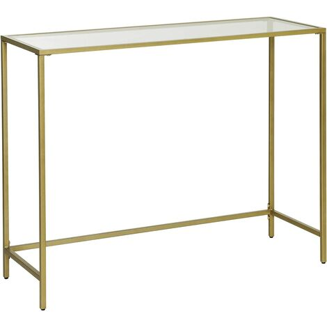 VASAGLE Console Table, Tempered Glass Table, Modern Sofa or Entryway Table, Metal Frame, Sturdy, Adjustable Feet, for Living Room, Hallway, Golden by SONGMICS LGT26G - Golden