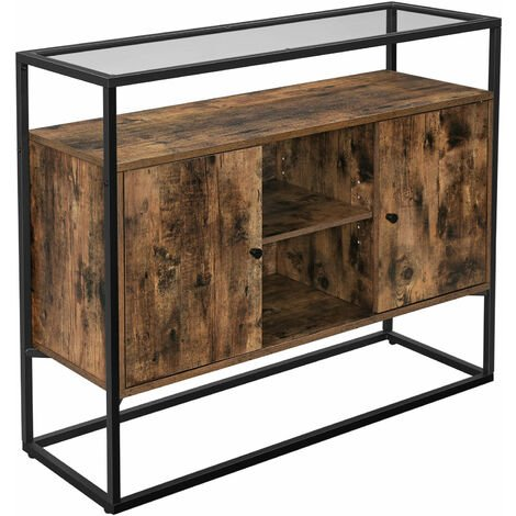 VASAGLE Sideboard, Side Cabinet, Storage Cabinet with Glass Surface and Open Compartments, Living Room, Hallway, Stable Steel Frame, Tempered Glass, Industrial, Rustic Brown and Black by SONGMICS LSC014B01 - Rustic Brown and Black