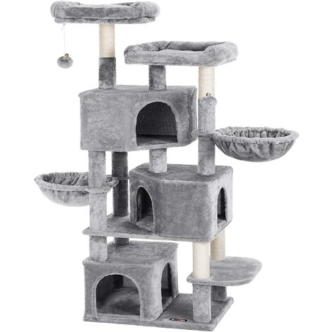 FEANDREA Large Cat Tree with 3 Cat Caves, 164 cm Cat Tower, Light Grey by SONGMICS PCT98W - Light Grey