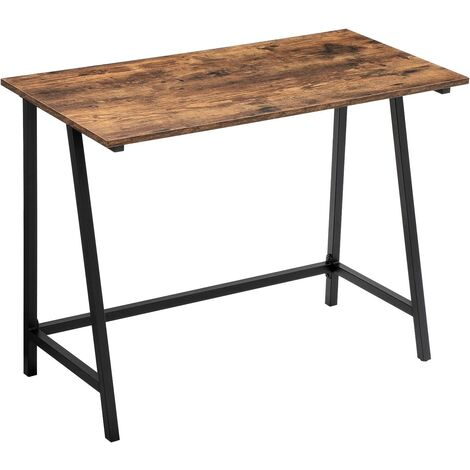 VASAGLE Computer Desk, Industrial Writing Table with Steel Frame and Rustic Top, in the Office and Home Study, Easy Assembly, Stable and Space-Saving, 100 x 50 x 75 cm by SONGMICS LWD40X - Rustic Brown