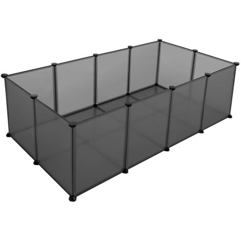 Pet Exercise Play Pen with Bottom, 20 Panels, DIY Enclosure Fence Cage for Small Animals, Guinea Pigs, Hamsters, Bunnies, Pet Run and Crate, Free Adjustable, Grey LPC002G01 - Grey