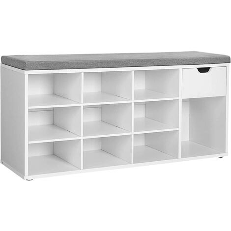 VASAGLE Shoe Bench, Storage Bench with Drawer and Open Compartments, Shoe Shelf, Padded Seat, for Entrance Corridor Bedroom, 104 x 30 x 48 cm, White by SONGMICS LHS24WT - White