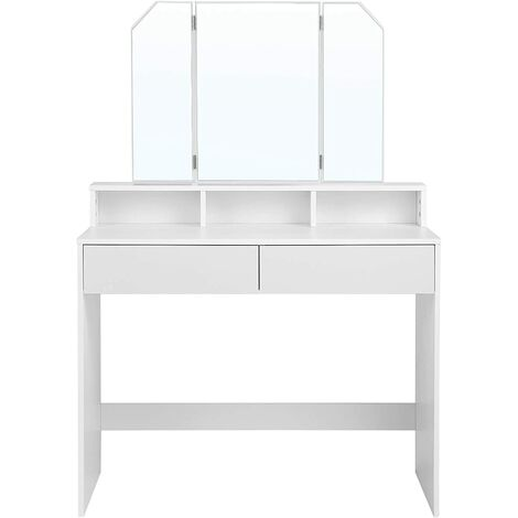 Tri Fold Mirror Makeup Table, White Dressing Table With Fold Down Mirror
