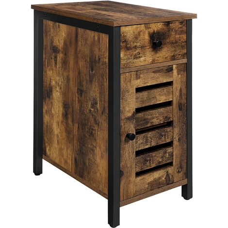 Vasagle Side Table With Drawer 30 Cm Narrow End For Small Spaces Shutter Door Metal - Black Metal Narrow End Table