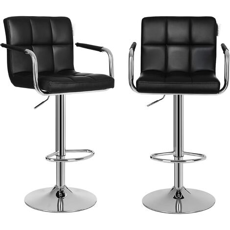 Bar Stools Set of 2, Height Adjustable Bar Chairs in Synthetic Leather, 360° Swivel Kitchen Stool with Backrest and Footrest, Black LJB93BUK - Black