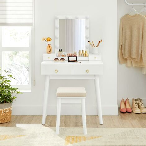 VASAGLE Dressing Table Set, Makeup Vanity Table with Mirror, 10 Light Bulbs, 3-Slot Removable Organiser, 4 Drawers, Cushioned Stool, for Bedroom, Mid-Century Modern, White RDT192W01 - White