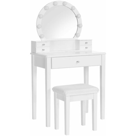 VASAGLE Dressing Table Set with Mirror, 10 Dimmable Light Bulbs, Modern Makeup Table with Cushioned Stool and 5 Drawers, 70 x 40 x 134 cm, Vanity Set, Gift Idea, White by SONGMICS RDT193W01 - White