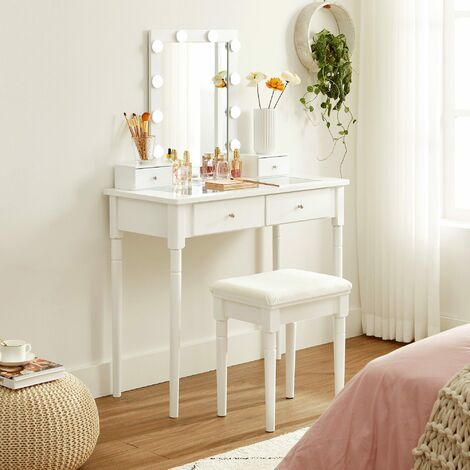 VASAGLE Dressing Table Set, Makeup Table Set with Cushioned Stool, 10 Dimmable Light Bulbs, 2 Large Drawers with Clear Tempered Glass Top and 2 Small Drawers, Gift Idea, White by SONGMICS RDT190W01 - White