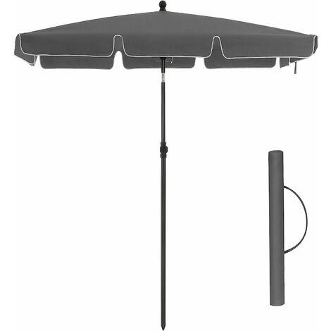 Rectangular Balcony Parasol 1.8 x 1.25 m, UPF 50+ Protection, Tilting Sunshade, PA-Coated Canopy, Carrying Bag, Garden Terrace, BaseNotIncluded, Grey GPU180G01 - Grey