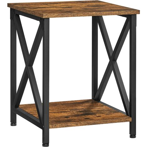 VASAGLE Side Table, End Table with X-Shape Steel Frame and Storage Shelf, Nightstand, Farmhouse Industrial Style, 40 x 40 x 50 cm, Rustic Brown and Black by SONGMICS LET277B01 - Rustic Brown and Black