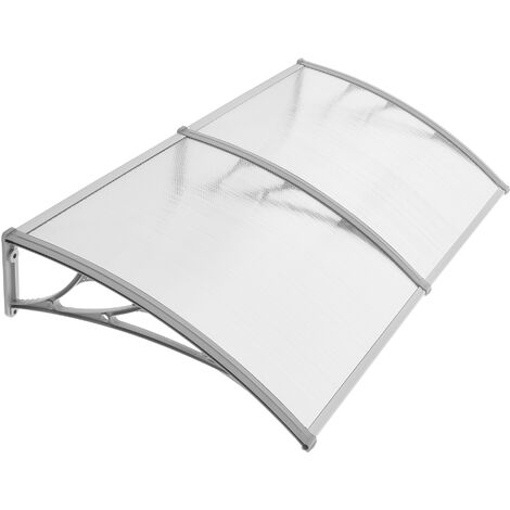 Polycarbonate Door Canopy, 195 x 96 cm, 5 mm Thick, Window Rain Corrugated Awning Shelter, Porch Canopy for House Fronts, Transparent and Grey GVH191 - Transparent and Grey
